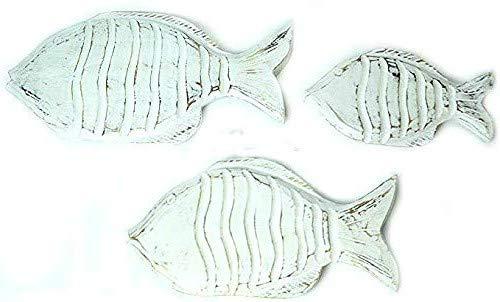 Beautiful Unique Set of 3 White Nautical School of Fish Wood Wall Art