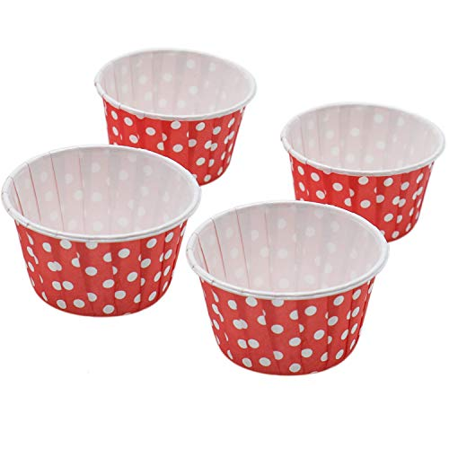 IDS 100 Pack Red Polka Dots Cupcake Wrappers for Wedding Birthday Baby Shower Party Supplies Decorations