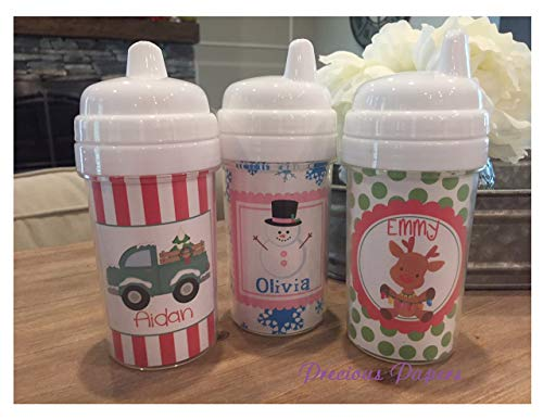 (Choice of ONE Personalized Christmas sippy cups, Rudolph cup, snowman cup, truck sippy cup, kids christmas cups, kids stocking)