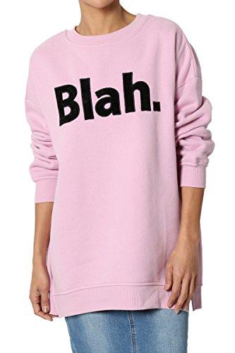 TheMogan Junior's Soft Cotton Blend Fleece Pullover Sweatshirts Candy Pink S