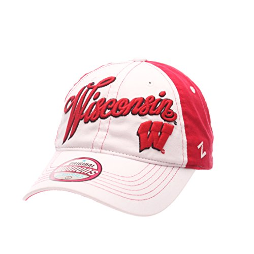 Zephyr NCAA Wisconsin Badgers Adult Women Vogue Women's Relaxed Hat, Adjustable, White/Team Color ()
