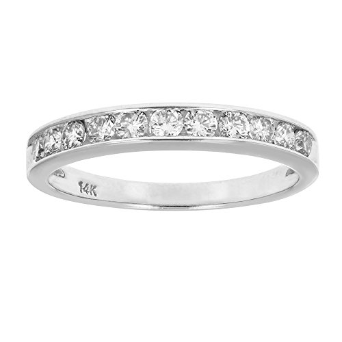 Diamond Ring Wedding Band Rings - AGS Certified I1-I2 1/2 ctw Classic Diamond Wedding Band 14K White Gold Size 7