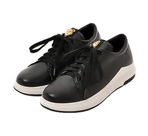 Allhqfashion Para Mujer Sin Talón Sólido Con Cordones De Pu Zapatos De Punta Redonda-zapatos Negro
