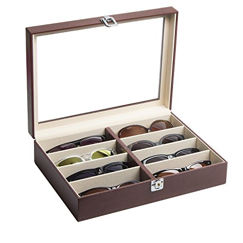 JackCubeDesign Leather 8 Compartments Eyeglass Display Organizer Eyeglasses Sunglass Storage Case Box Eyewear Tray Stand Suede Inside with Acrylic Cover(Brown, 17.4 x 6.7 x 1.97) - ()