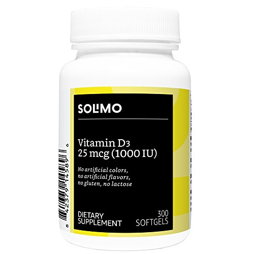 Amazon Brand - Solimo Vitamin D3 25 mcg (1000 IU), 300 Softgels, Ten Month Supply