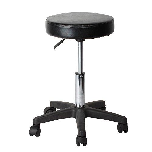 Flexzion Rolling Swivel Stool Pneumatic Work Chair Adjustable Height With Casters Wheel 360 Degree Rotation for Home Office Salon Facial Massage ()
