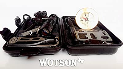 WOTSON Emergency Survival Kit – All In 1 - Professional Outdoor Tool gear. Your Companion for Traveling, Hiking, Climbing, Hunting & in the car - Fire Starter, Knife, Flashlights, Tactical Pen and.. from WOTSON
