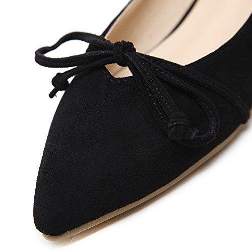 Meeshine Femmes Bout Pointu Bow Ballet Appartements Doux Confort Ballerine Slip On Robe Chaussures Noir 03