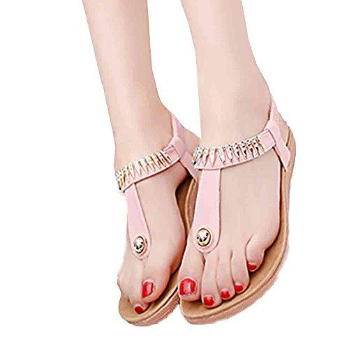Elaco Women Flat Shoes Bead Bohemia Leisure Lady Sandals Peep-Toe Outdoor Shoes Pink