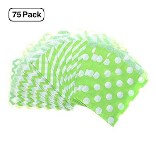 75 Count Green and White Paper Treat Sacks - Chevron, Candy Stripe, Polka Dot Favor Bags - 5 x 7 inches