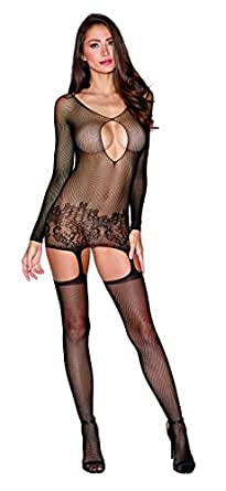 Dreamgirl Women's Fishnet Long Sleeve Garter Dress with Attached Garters and Thigh High Stockings, Black, One Size