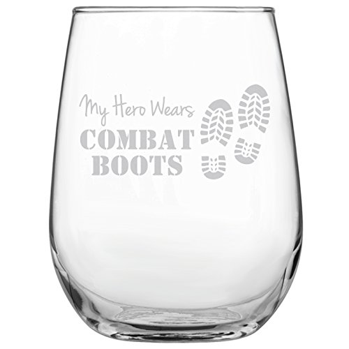 My Hero Wears Combat Boots 17oz Stemless Wine Glass - Engraved Gift for Military • Present for Her • Present for Him • Army • Navy • Marines • Air Force ()