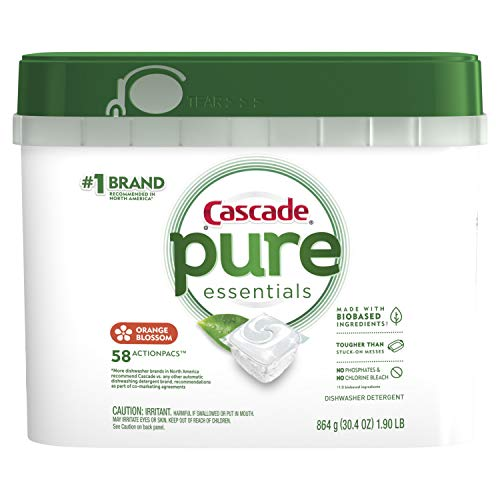 - Cascade Pure Essentials Actionpacs Dishwasher Detergent, Orange Blossom, 58 Count
