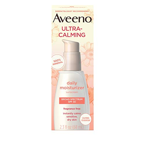 Aveeno Ultra-Calming Fragrance-Free Daily Facial Moisturizer for Sensitive, Dry Skin with SPF 30 Mineral Sunscreen, Calming Feverfew & Nourishing Oat, 2.3 fl. oz (Aveeno Ultra Calming Daily Moisturizer Spf 15)