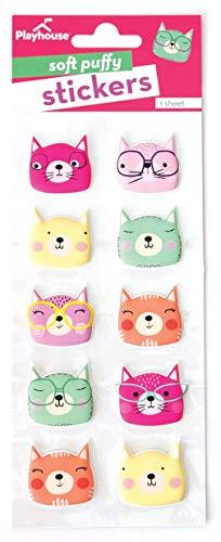 Playhouse Curious Kitties Soft Puffy 10-Piece Sticker Sheet