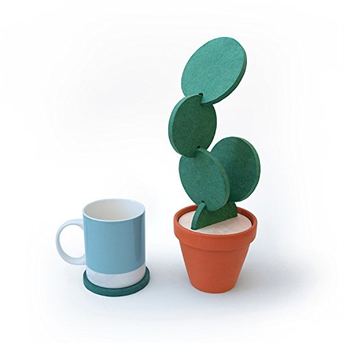 DIY Cacti Cup Coasters Set with Flower Pot Shaped Holder For Home, Office Decoration, Gift.