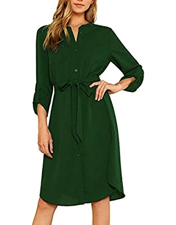 9178baba1f44ee Milumia Women's Roll Tab Sleeve High Waist Belted Work Shirt Dress with  Pocket ...