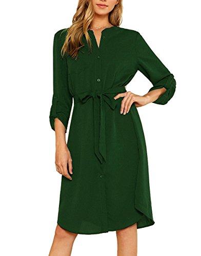 MilumiaWomen'sRollTabSleeveHighWaistBeltedWorkShirtDresswithPocket Green - Shirt Womens Belted Dress