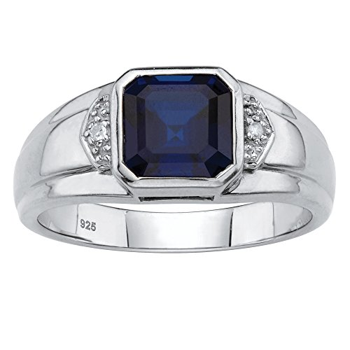Men's Platinum over Sterling Silver Simulated Blue Sapphire and Diamond Accent Ring Size 8