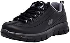 Let the all-day comfort flow wearing the SKECHERS Work Relaxed Fit: Sure Track - Trickel shoe. Smooth leather upper in a lace up casual comfort work slip resistant sneaker with stitching accents and Memory Foam insole.