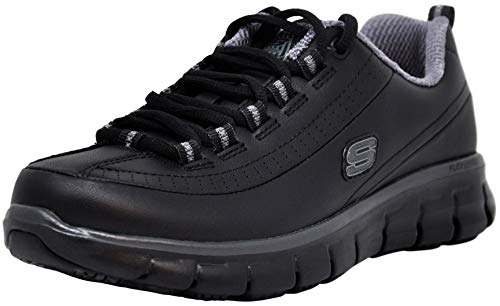 Skechers for Work Women's Sure Track Trickel Slip Resistant Work Shoe (9 M US, Black/Grey)