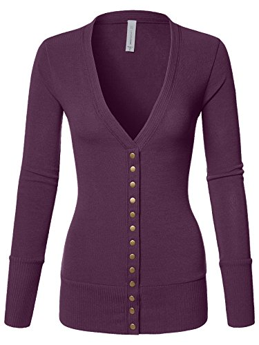 Cardigan Detail V-neck (Luna Flower Women's Cardigan Sweater Snap Button V-Neck with Cuff Rib Detail Dark_Plum 1X (GCDW027))