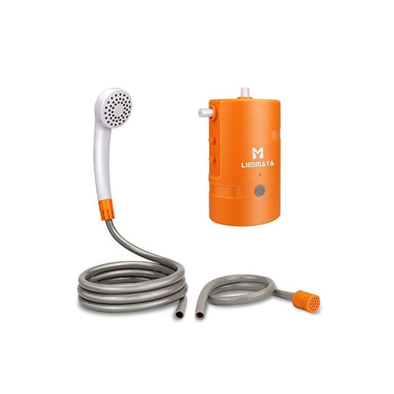 LIEBMAYA 12V Tragbare Außendusche, Outdoor Dusche, Campingdusche eingebauter 4400mAh Batterien Angetriebene Duschpumpe…