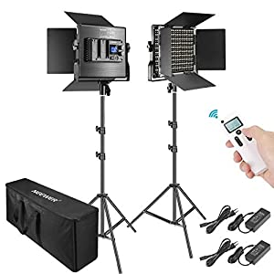 Neewer 2 Packs Avanzado 2,4G 660 LED Video Luz Fotografía Kit Iluminación con Bolsa Panel LED Bicolor Regulable con… 41Ak1AgDssL