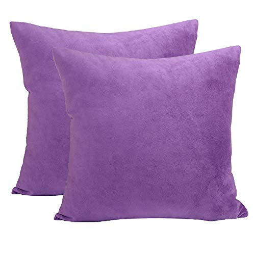 sykting Decorative Pillow Covers Solid Super Soft Square Cushion Covers Fuzzy Pillow Cases for Bed/Couch/Chair Pack of 2 16 x 16 inch Purple -