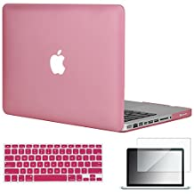 """Easygoby 3in1 Matte Frosted Silky-Smooth Soft-Touch Hard Shell Case Cover for 13-Inch MacBook Pro 13.3"""" [Non-Retina] (Model: A1278) + Keyboard Cover + Screen Protector - Pink"""