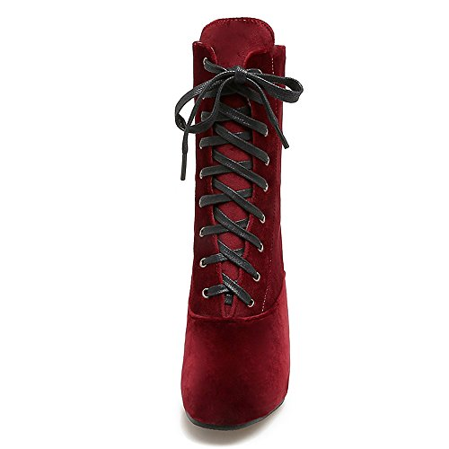 Wine Heel COOLCEPT Top Size Fashion Plus Block Women Red Autumn Boots High v6gSUq