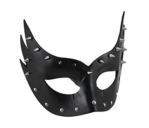 Zeckos Glossy Black Vinyl Spiked Studded Half-Face Mask w/Ribbon Ties Adult Vinyl Half Mask