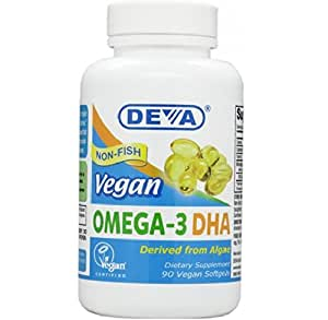 DEVA Vegan Vitamins Vegan DHA (Algae) 200mg Vegan Softgels, 90-Count Bottle