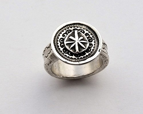 Sterling Silver North Star Statement Ring - Sterling Silver Women's Ring - North Star Ring - Handcrafted Silver North Star Ring - Artisan Sterling Silver Ring Handcrafted Rustic Willow