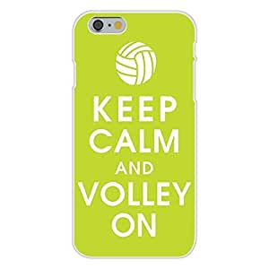 Hu Xiao Apple iPhone 6 Custom case cover White Plastic Snap On 7QAimVJJs5w - Keep Calm and Volley On w/ Volleyball