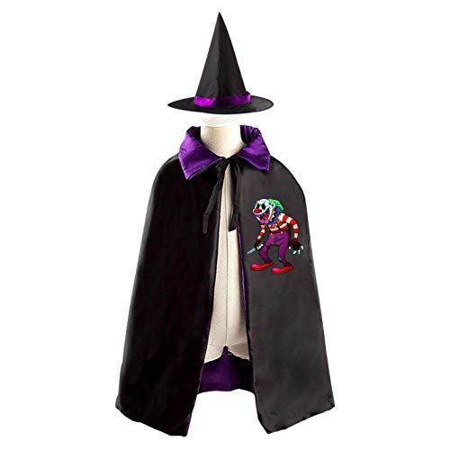 69PF-1 Halloween Cape Matching Witch Hat Scary Clow Wizard Cloak Masquerade Cosplay Custume Robe Kids/Boy/Girl Gift Purple
