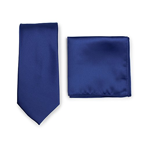 - Bows-N-Ties Men's Solid Necktie and Pocket Square Set (Royal Blue)