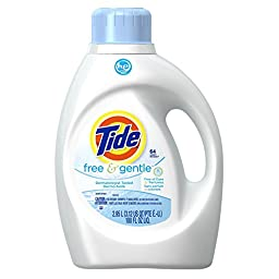 Tide 2x Concentrate Ultra Free and Gentle Liquid Laundry Detergent for High Efficiency Machines, 100 Fl Oz