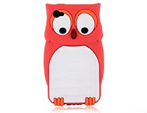 Owl Protective Silicone Case for iPhone 4S (Red)