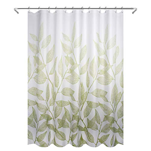 Eforgift Waterproof Shower Curtain Fabric 100% Polyester Spring Leaves with Metal Grommets, 72 x 72-inch, Decorative Bath Curtain Washable for Bathroom, White and Green