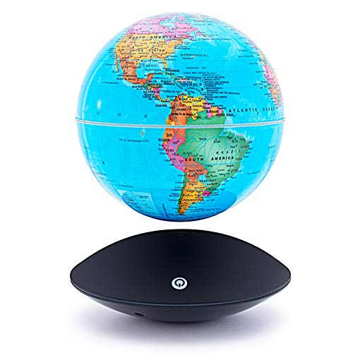 6 inch Magnetic Floating Levitation World Map Globe Auto-Rotation Changing LED Induction Light in Globe for Children Educational Corporate Gift Home Office Desk Decoration Floating Globe