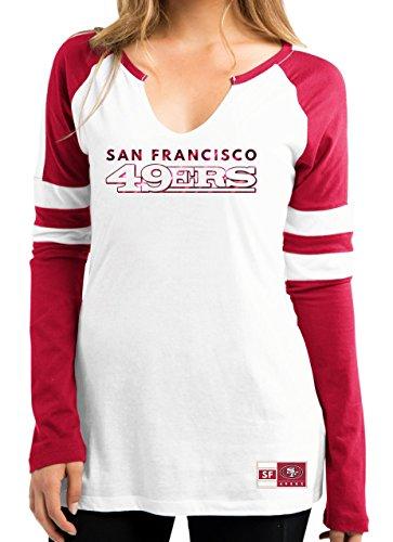 San Francisco 49ers Women's Coin Toss V-Notch Long Sleeve T-shirt XX-Large