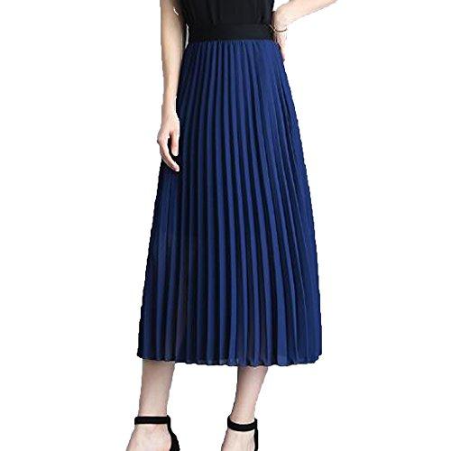 NIAIS Femmes D't Occasionnels Jupe En Mousseline De Soie Solide lastique Jupe Plisse En Tulle Blue