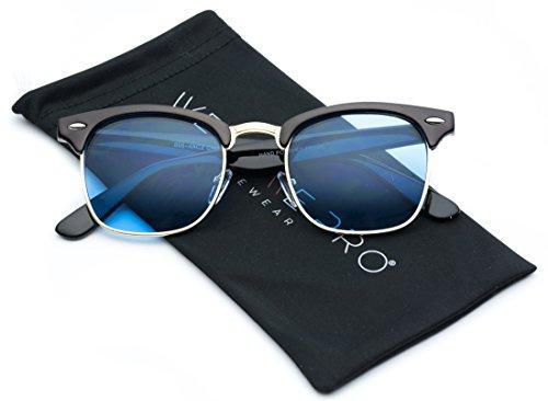 Retro Classic Metal Half Frame Horn Rimmed Sunglasses (Black Frame/Tinted Blue, ()