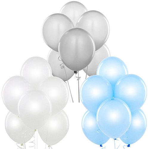 Pearl White, Metallic Silver, Pearl Baby Blue 12 Inch Pearlescent Thickened Latex Balloons, Pack of 72, Pearlized Premium Helium Quality for Wedding Bridal Baby Shower Birthday Party Decoration Supply -