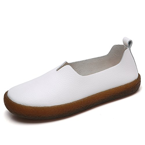 Leather On Flats Cooga Walking White Cushioned Casual Shoes Classic Slip Women's Foam Memory qXXwEO