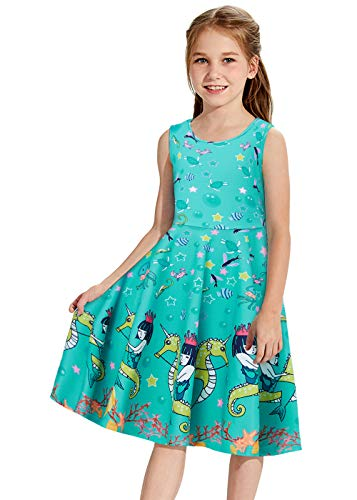 Girls Seahorse Dress Size 8 Twirly Dresses Mermaid Outfit Cute Castle Lovely Ocean Sea Fish Princess Fancy Swing A-Line Frock Summer Sleeveless Pleated Germs Clothes Junior Child Seahorse Costume for $<!--$9.99-->