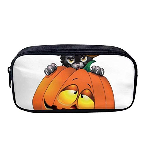 Custom Capacity Oxford Cloth Pencil Case Pen Bag Pouch Stationary Case Makeup Cosmetic Bag  (Halloween Pumpkin Black Cat)
