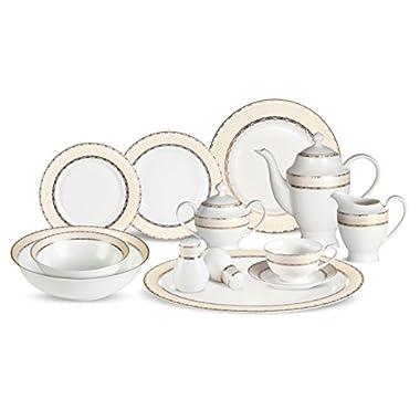 Lorenzo 57 Piece Elegant Bone China Service for 8 Margaret Dinnerware Sets, Gold