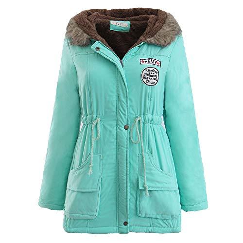 Limsea Women Warm Long Coat Jacket Parka Outwear Fashion Winter Fur Collar Hooded Slim XXX-Large Green (Handbag Hobo Belted)